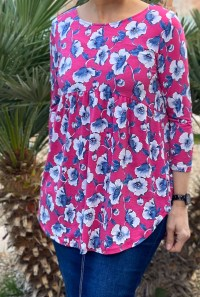 Pink royal floral high low tunic