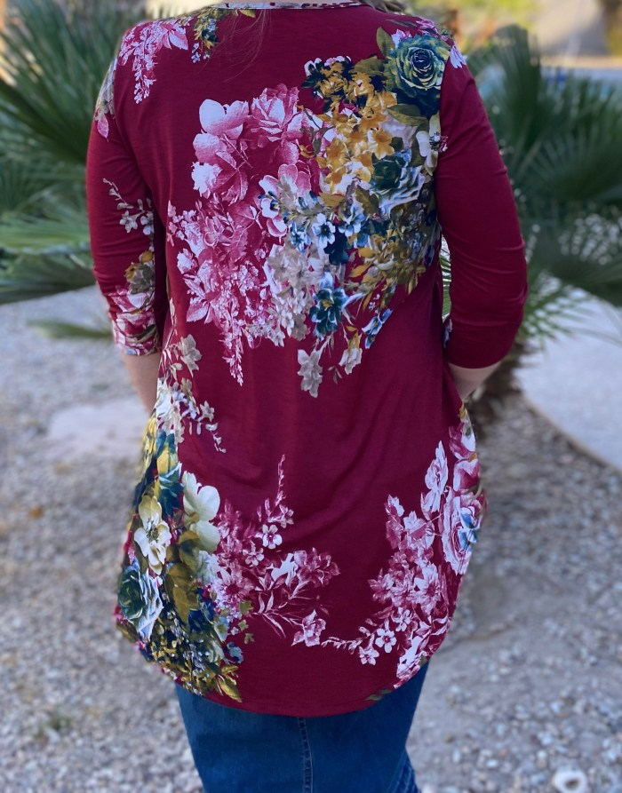 Burgundy Floral High Low Tunic
