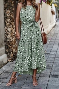 Green Polka Dot High Low Maxi Dress