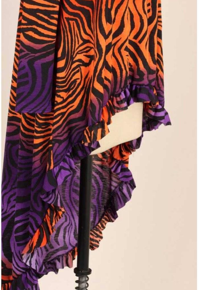Purple Orange Hi Low Ruffle Tunic