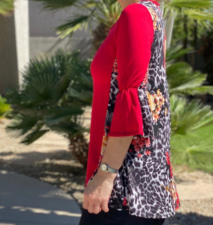 Red leopard bell sleeve top
