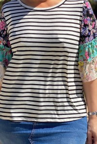 ruffle sleeve floral stripe tee