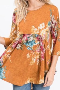 Mustard Floral High Low Tunic