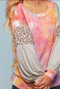 Tie dye stripe leopard top