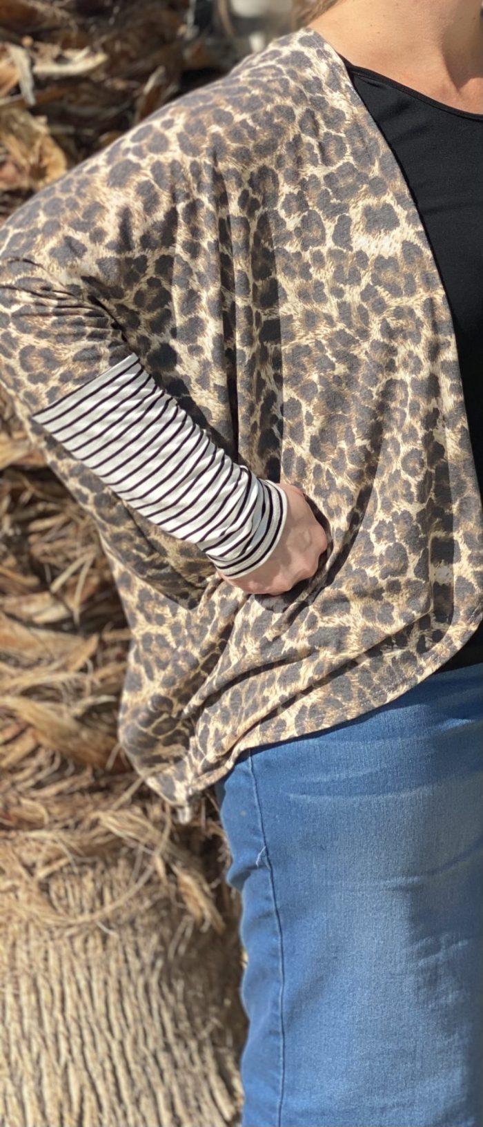 Leopard Stripe Kimono Cardigan