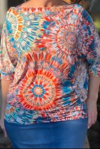 Tie Dye Off Shoulder Dolman Top