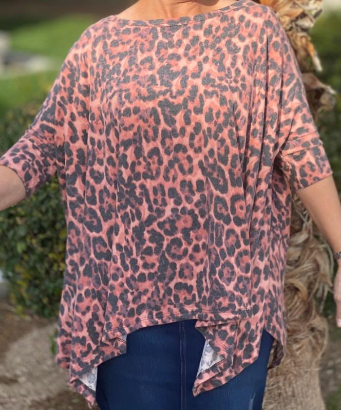 Pink animal asymmetrical tunic