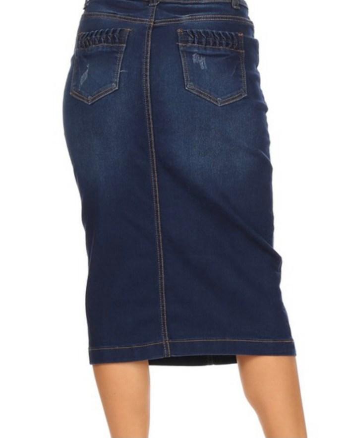Dark Indigo Ripped Stretch Twill Skirt