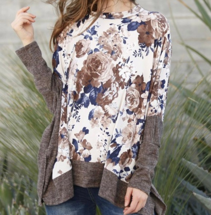 Fall floral poncho
