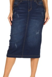 Dark Indigo Ripped Stretch Twill Skirt