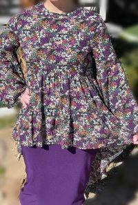 purple floral hi low tunic