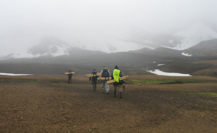 I couldn't spare any energy to take photos the first day of hiking (the horizontal rain was also a deterrent), but this is the second day, when we'd changed our stick-lashing method so that instead of tipping over, we'd whack each other with our wooden wings if we turned too quickly.