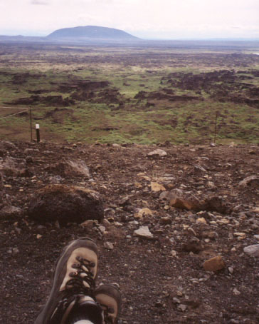 I took this sitting on the edge of the rim, but there's not much contrast between the rim (brown and rocky) and the ground hundreds of feet away (green and rocky). At the right edge of this photo, you can see part of a ring of lava formations known as Dimmuborgir, which translates to Dark Castles. During an eruption, a pool of lava formed where Dimmuborgir now sits. As the lava slowly drained out of the pool, steam bubbled up through the magma, cooling it in places, and leaving behind tall pillars.