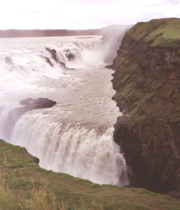 The next morning, on the way back to Reykjavík, we stopped at Gullfoss, The Golden Waterfall. It is Europe's most powerful waterfall, and quite beautiful.