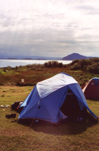 I took a photo of my tent every place I camped- here's my home right on the edge of Lake Mývatn.