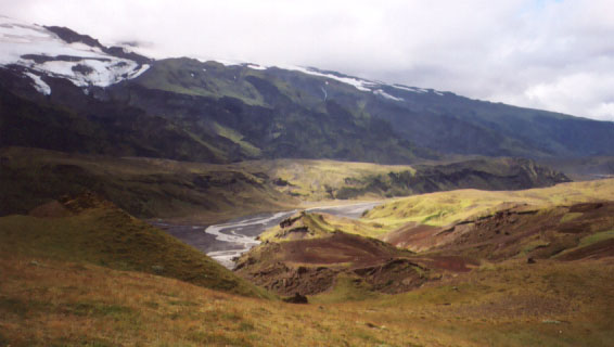 Þorsmörk, a gorgeous area that I visited briefly and did (surprise!) some more trail work with the Trail Team. The weather wasn't terrific while we were there, and I wasn't feeling 100%, so I didn't take many pictures. The mountainside where we worked was covered in wild blueberries, though, which were delicious and a great morale booster when the sideways rain started to get annoying.