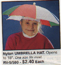 Keep dry and cool with this stylish umbrella hat.  Great gift idea for people with no arms!