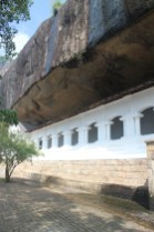 The Dambulla Cave Temple is literally built into the walls of the rock. Part of the reason it is so well-preserved is the drip eave (seen here) carved along the top to prevent hundreds of years of rainstorms from washing away the temple.