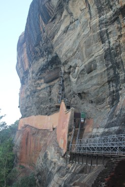 The rock has some well-preserved frescoes along the way up, but no photos allowed. That spiral staircase bolted to the side of this rock did not inspire a lot of confidence in me.