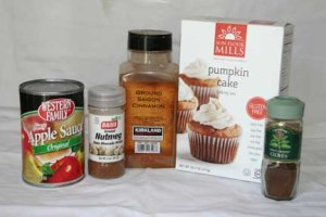 Gluten Free Applesauce Spice Cake- Ingredients- will also need eggs and oil according to package directions