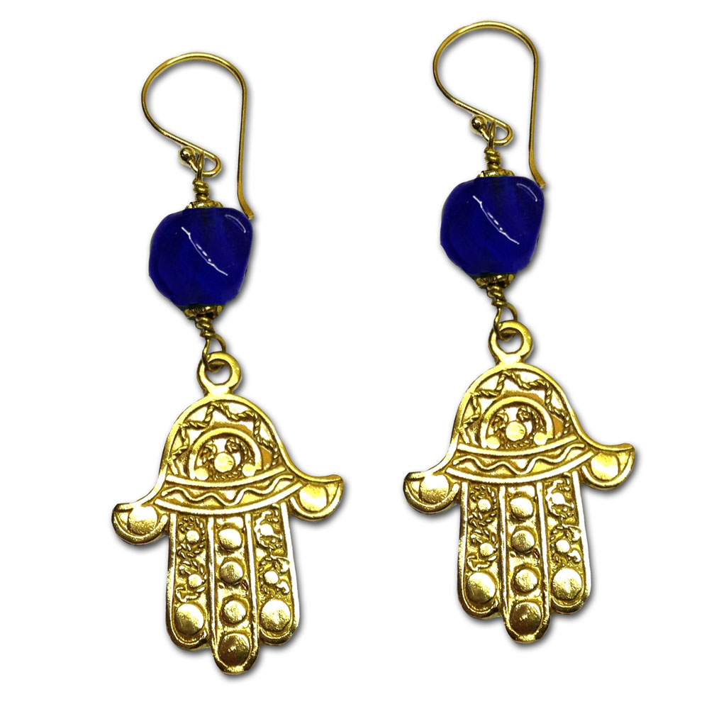Hamsa Earrings Recycled Glass and Brass Yellow Green or