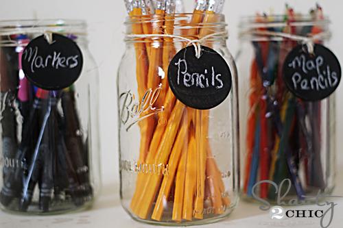 Art supplies in mason jars
