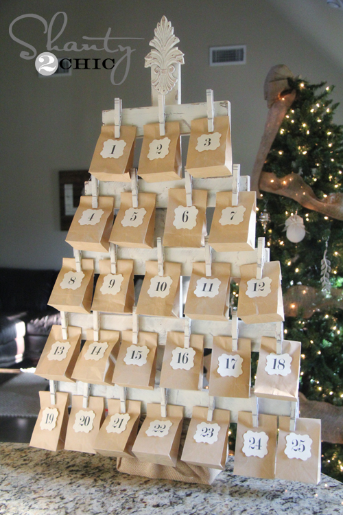 Wooden Clothespin Advent Calendar Tree Tutorial | Shanty2Chic