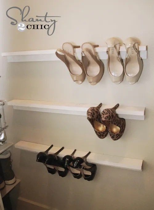 closet organization - high heel shelves