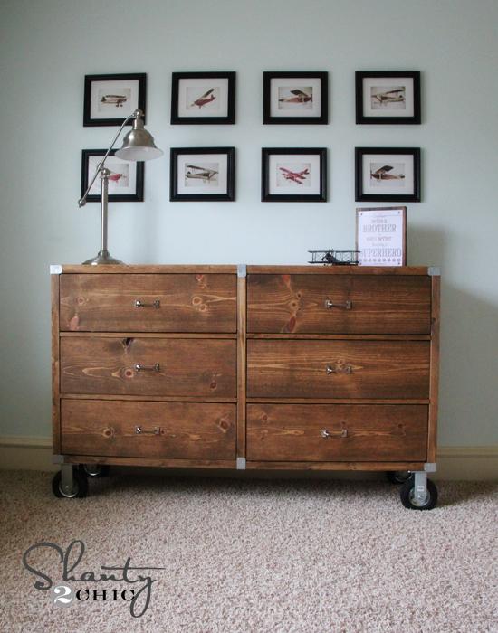 DIY Furniture  Wood Dresser with Wheels  Shanty 2 Chic