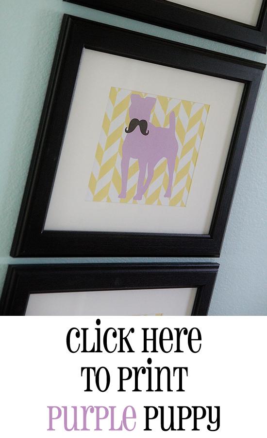 Print Purple Puppy Printable