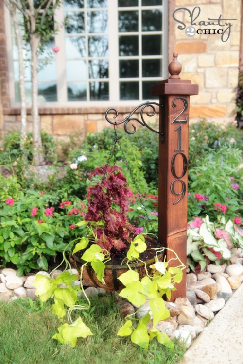 Address Numbers Post with Planter