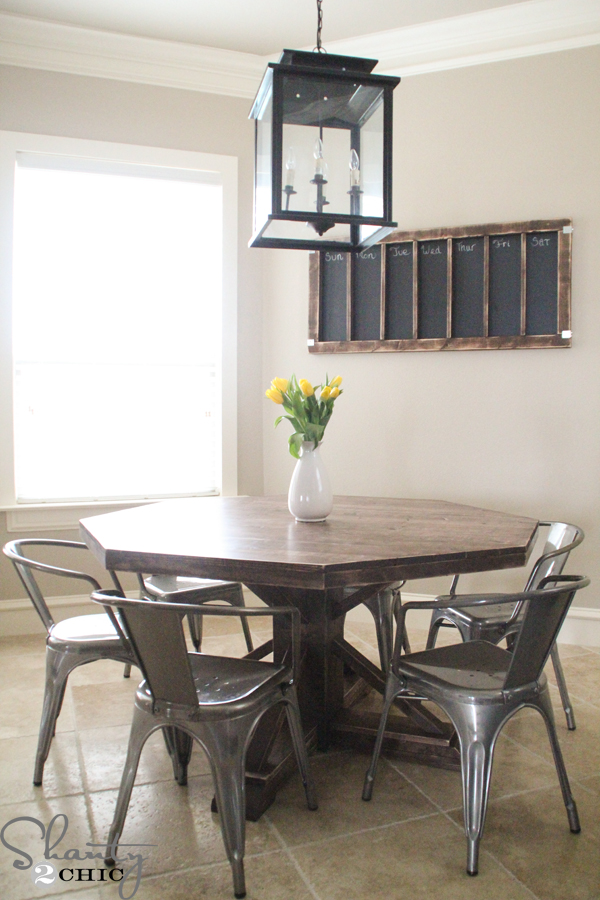 metal kitchen chairs target iron chair price diy round wooden table for $110! - shanty 2 chic