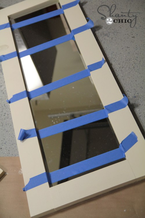 tape mirror to wood