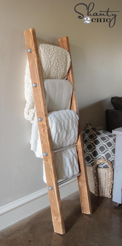 diy wood and metal pipe blanket ladder - shanty 2 chic