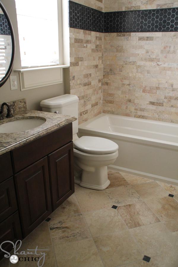 My Boys Bathroom Tile Reveal - Shanty 2 Chic