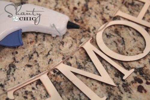 hot glue wood letters