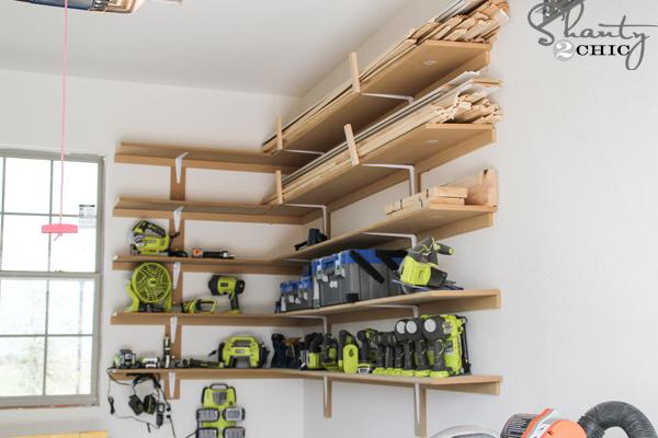 Super Easy DIY Garage Shelves - Shanty 2 Chic