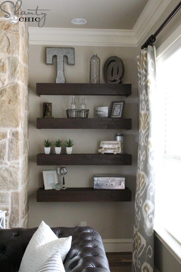 DIY Floating Shelves for my Living Room  Shanty 2 Chic