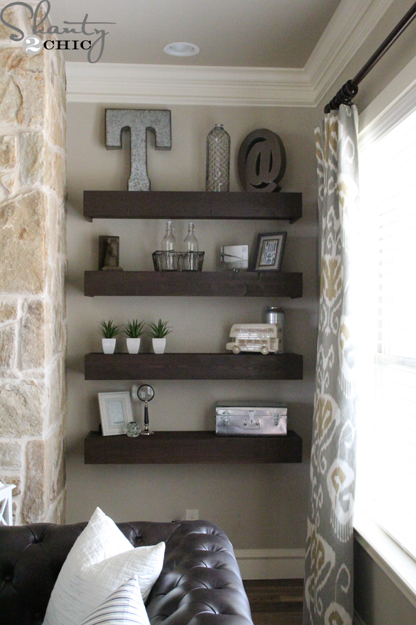 shelving for living room walls with chairs only diy floating shelves my shanty 2 chic