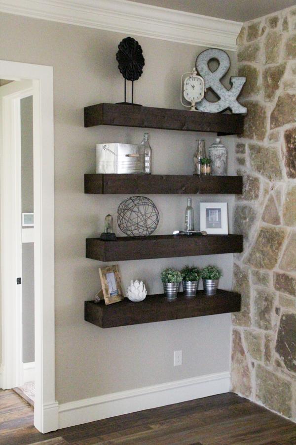 diy shelves in living room blanket storage floating for my shanty 2 chic