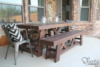 DIY Outdoor Benches for my Table - Shanty 2 Chic