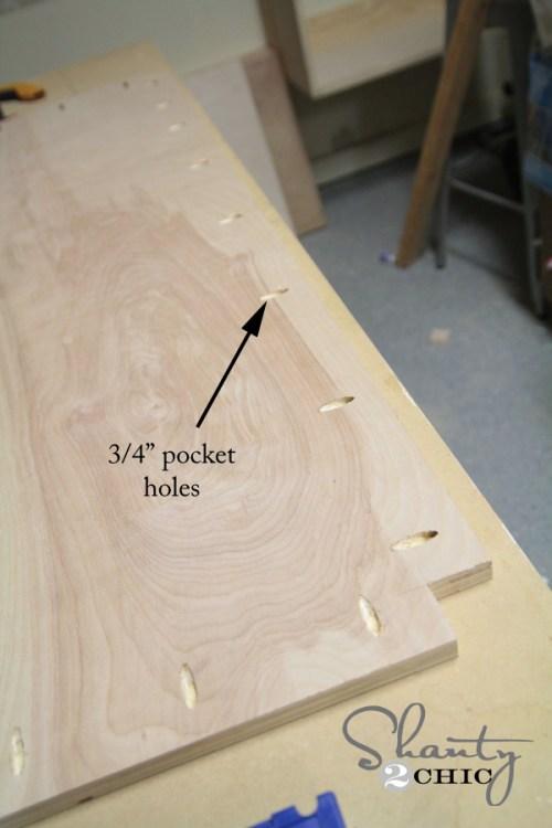 bottom of bench pocket holes