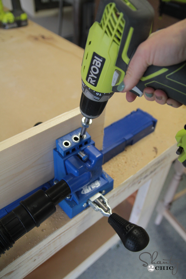 DIY Planked Headboard Pocket Holes
