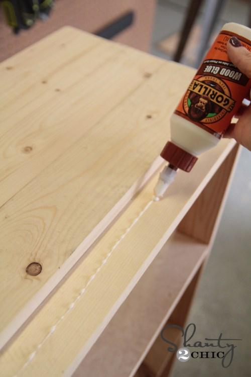 glue top of bookcase