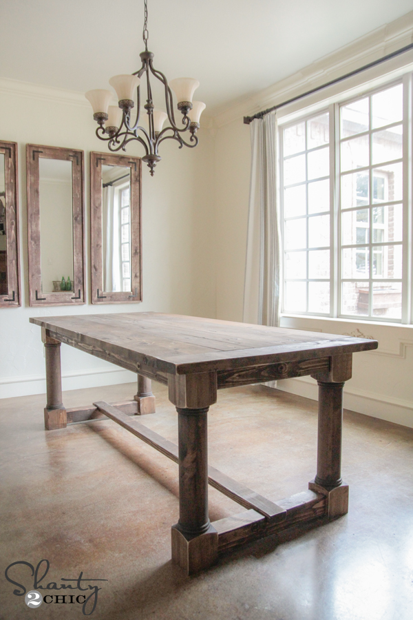 DIY Dining Table with Turned Legs