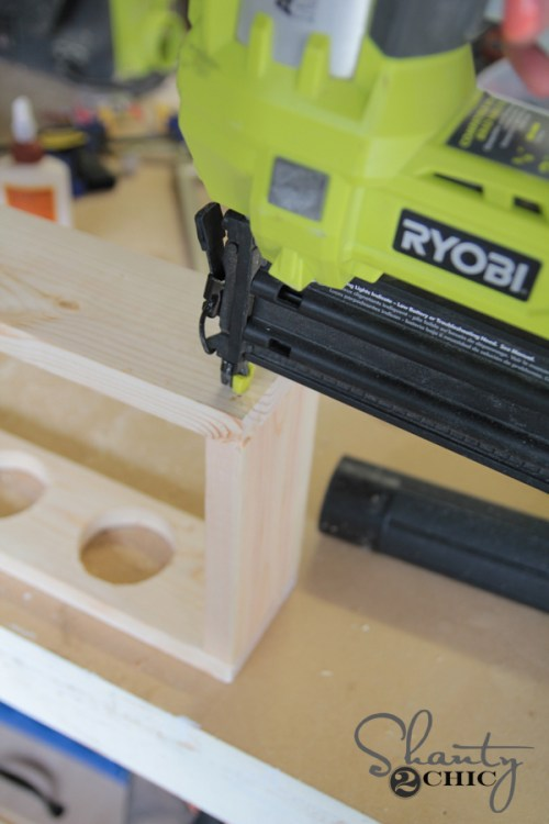 Attach top to sides using brad nailer