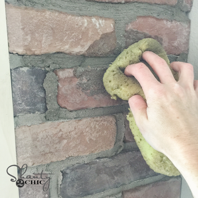Wiping Mortar on brick