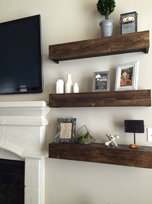 restoration hardware living room paint for the floating shelves - shanty 2 chic