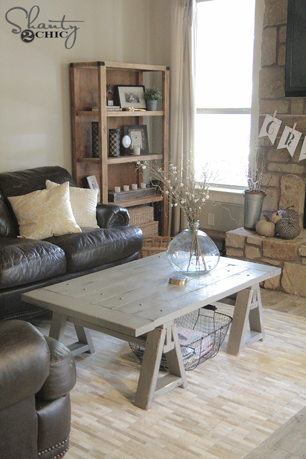 DIY Sawhorse Coffee Table Free Plans & Tutorial by Shanty2Chic