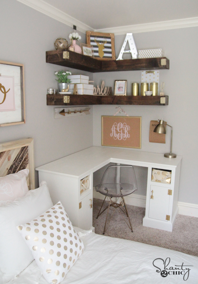 DIY Floating Corner Shelves by Shanty2Chic